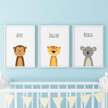 Poster für das Kinderzimmer Affe Jaguar Koala Blau