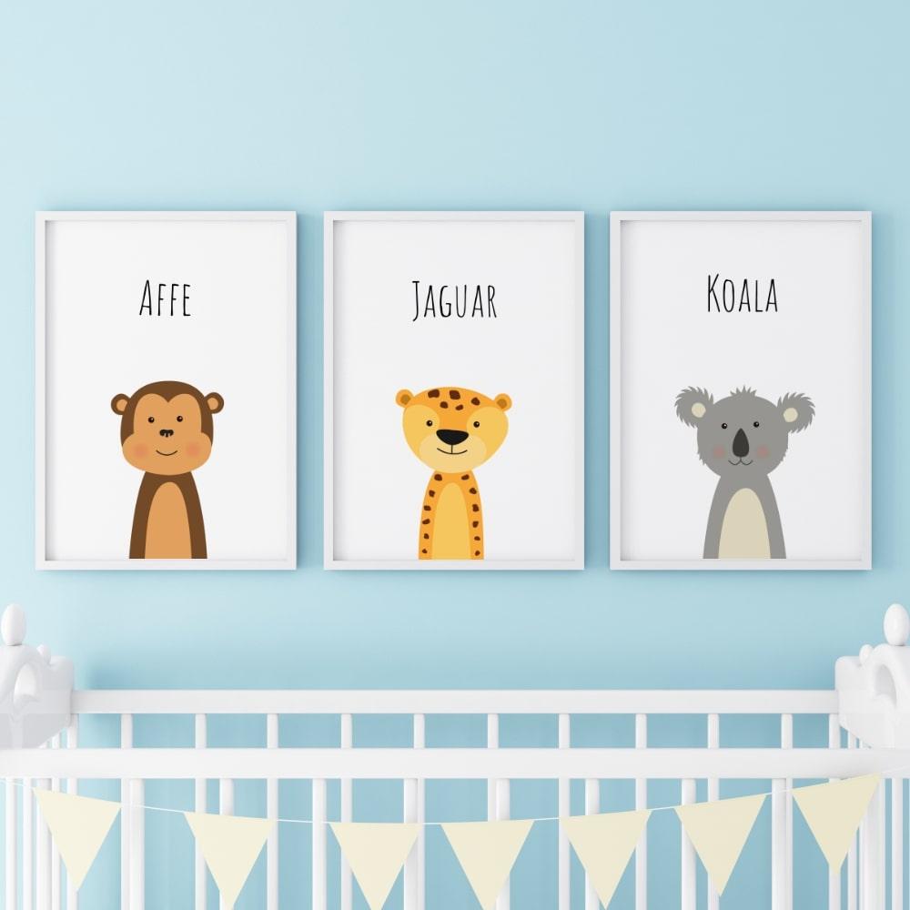 Posterset (Affe, Jaguar, Koala)