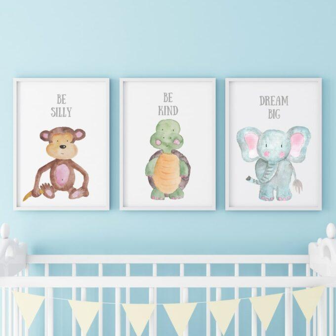 Poster für das Kinderzimmer Affe Schildkröte Elefant Blau