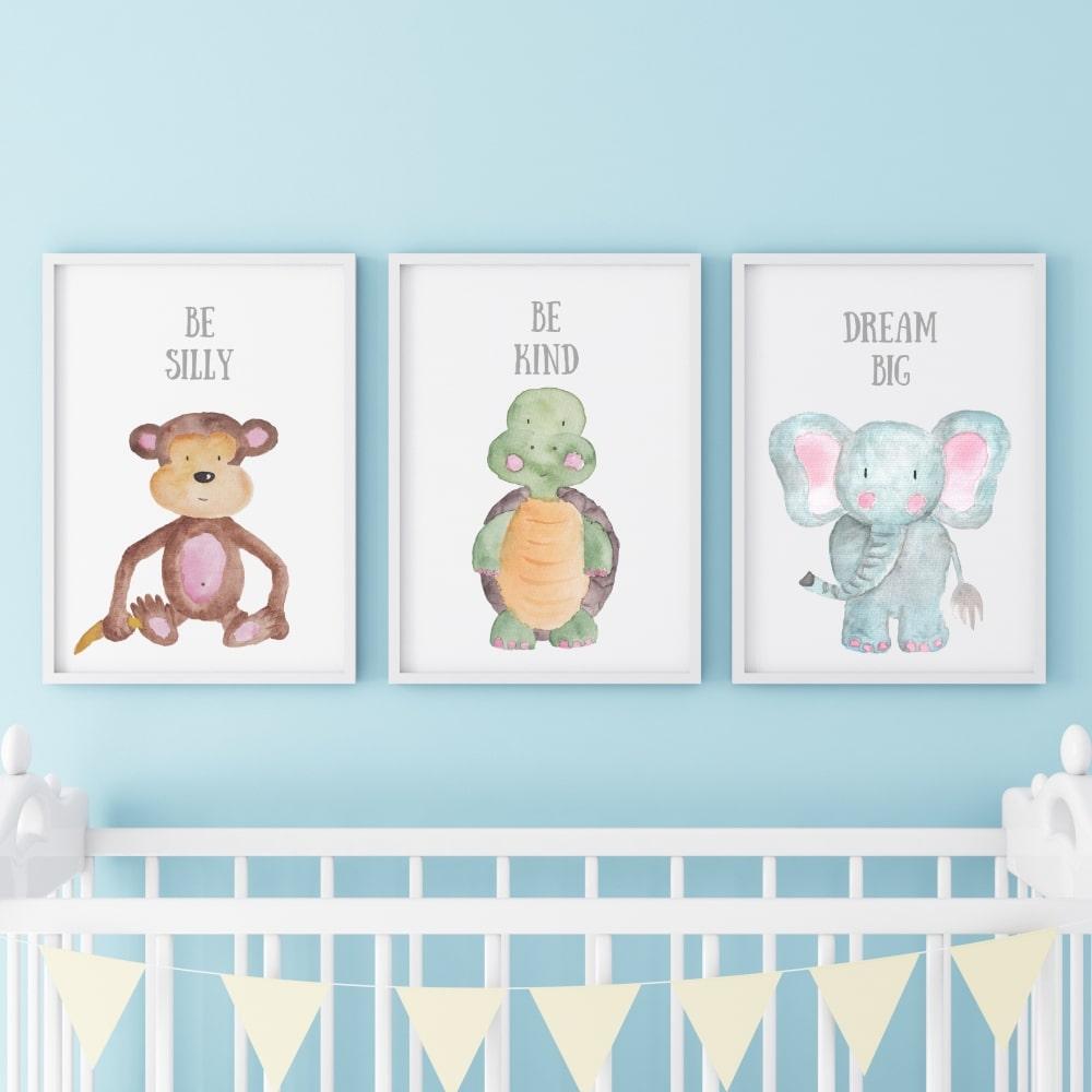Posterset (Affe, Schildkröte, Elefant)