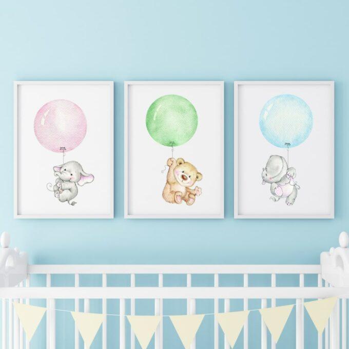 Poster für das Kinderzimmer Bär Elefant Nilpferd Blau