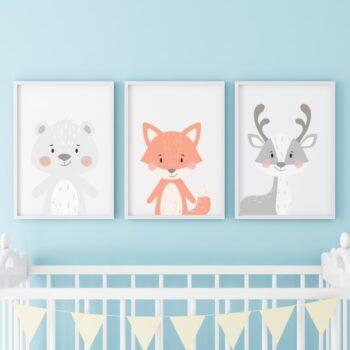 Poster für das Kinderzimmer Bär Fuchs Reh Blau