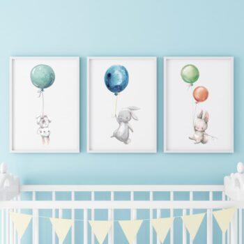 Poster für das Kinderzimmer Hasen Blau