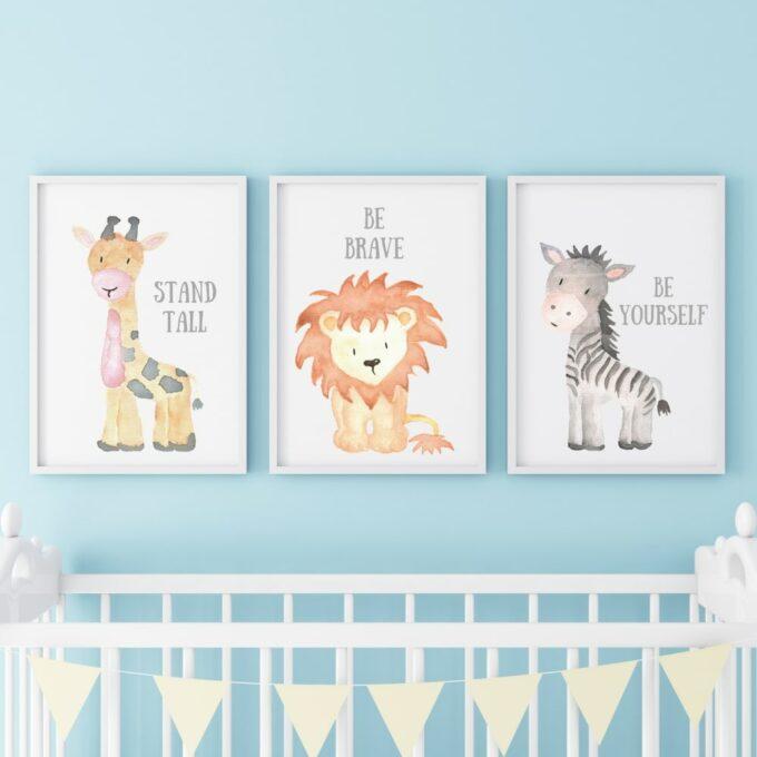 Poster für das Kinderzimmer Löwe Giraffe Zebra Blau