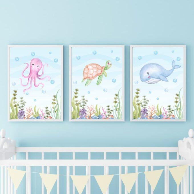 Poster für das Kinderzimmer Oktopus Schildkröte Wal Blau