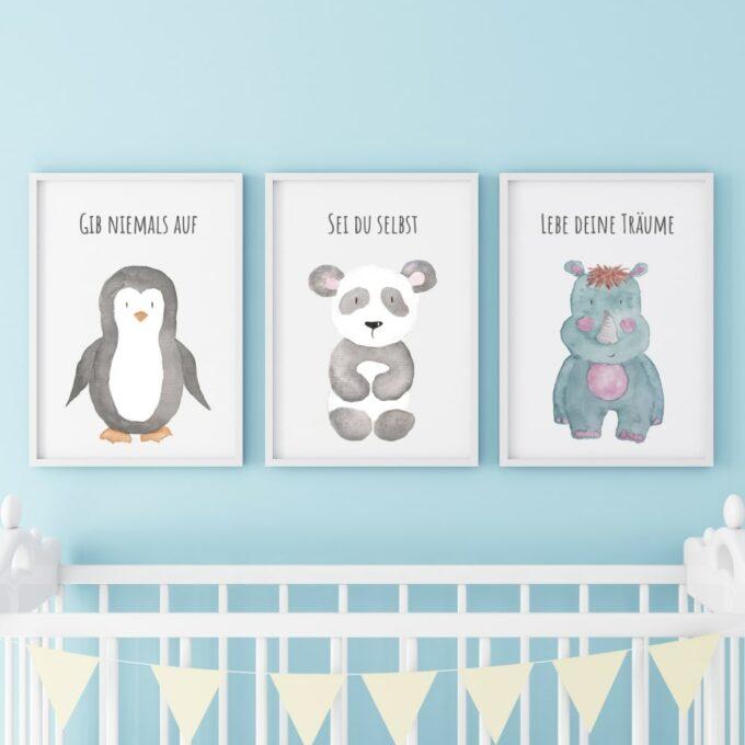 Poster für das Kinderzimmer Pinguin Panda Nashorn Blau
