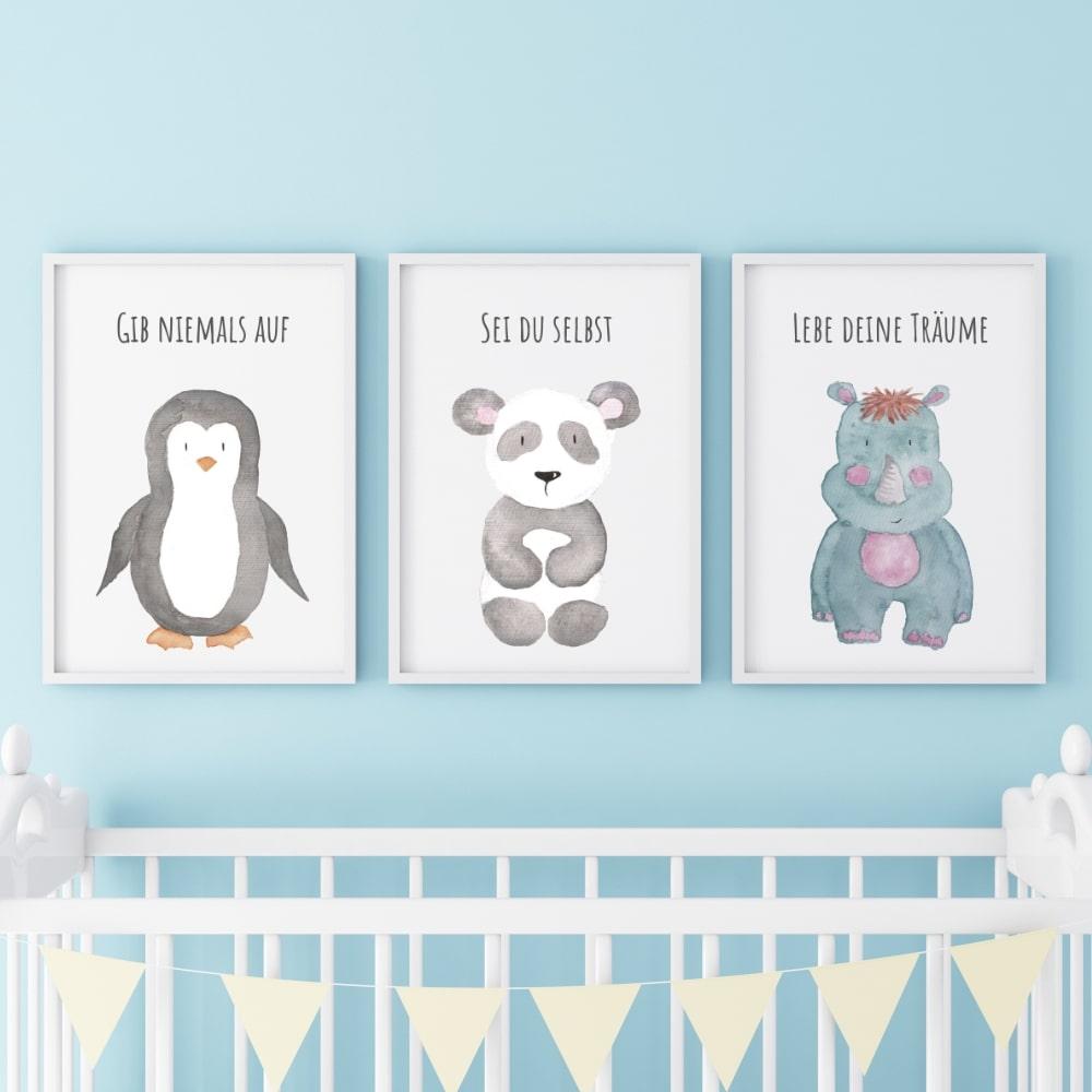 Posterset (Pinguin, Panda, Nashorn)