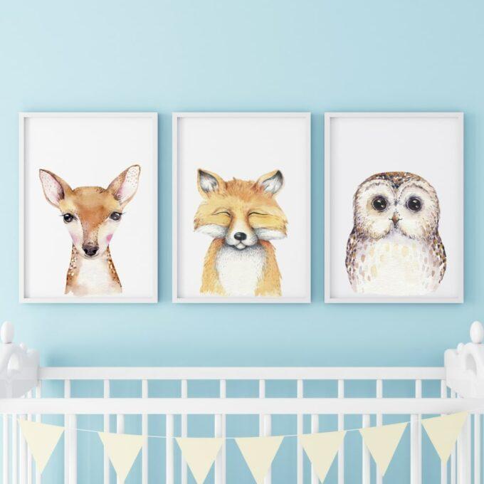 Poster für das Kinderzimmer Reh Fuchs Eule Blau