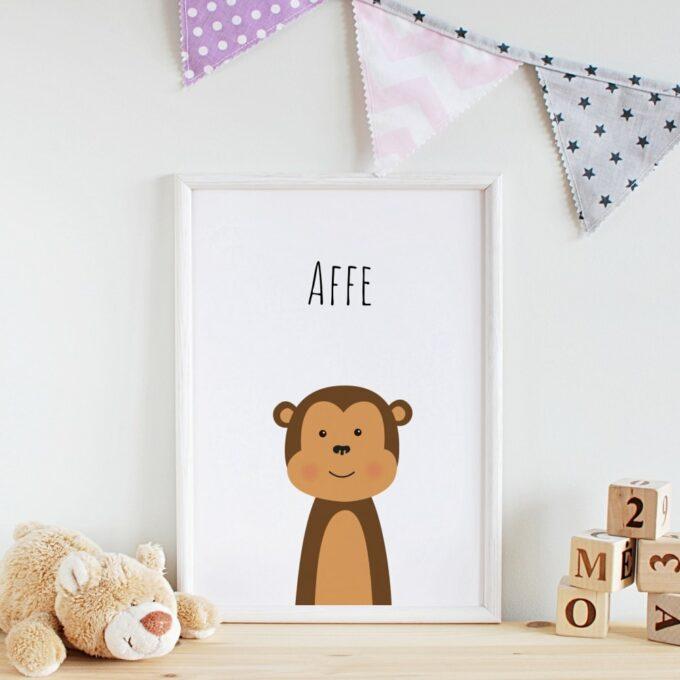 Babyzimmer Deko Wandposter Affe