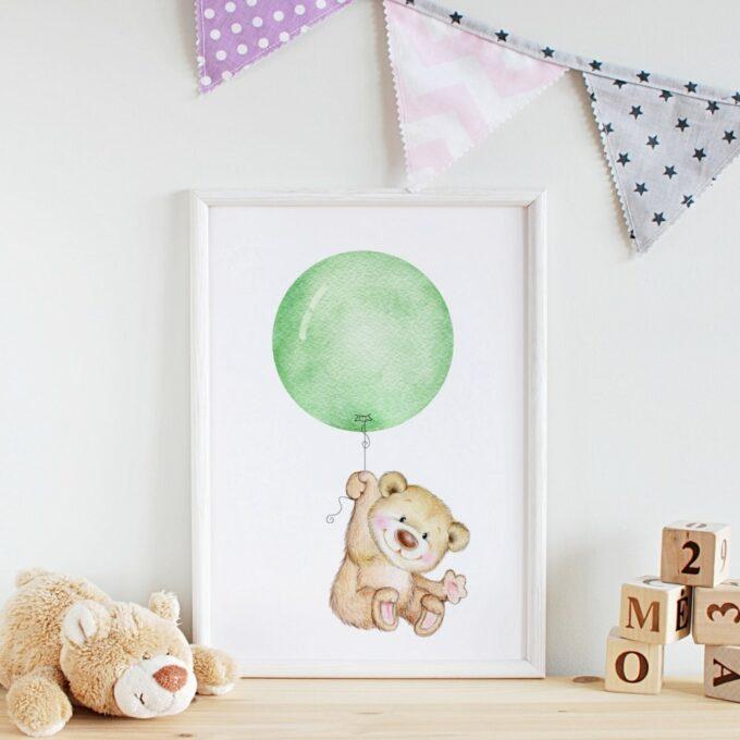 Babyzimmer Deko Wandposter Bär