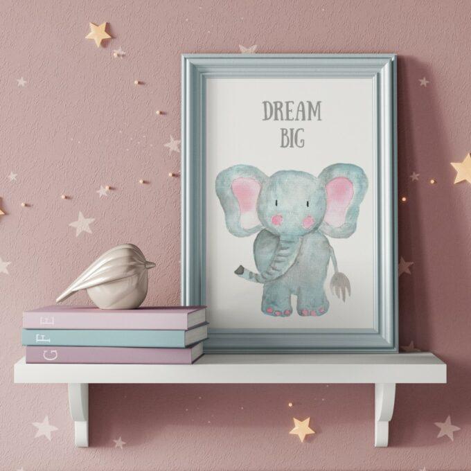 Babyzimmer Deko Wandposter Elefant
