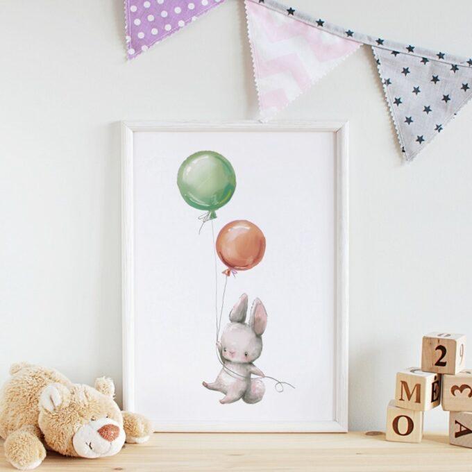 Babyzimmer Deko Wandposter Hase