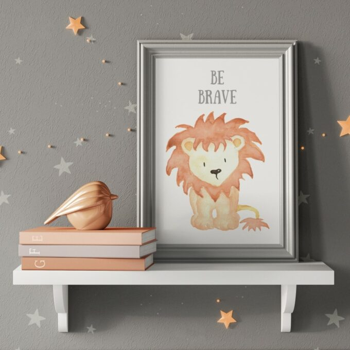 Babyzimmer Deko Wandposter Löwe grau