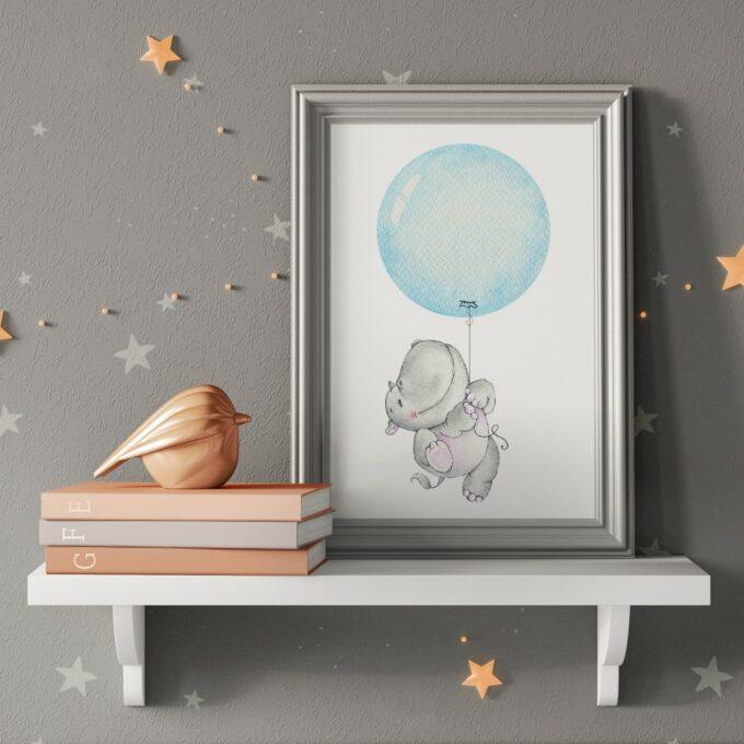 Babyzimmer Deko Wandposter Nilpferd