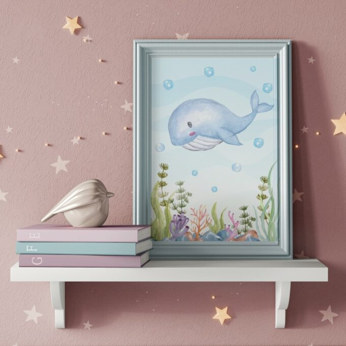 Babyzimmer Deko Wandposter Wal
