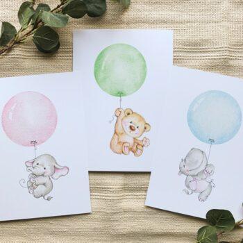 Kinderzimmer Posterset Elefant Bär Nilpferd