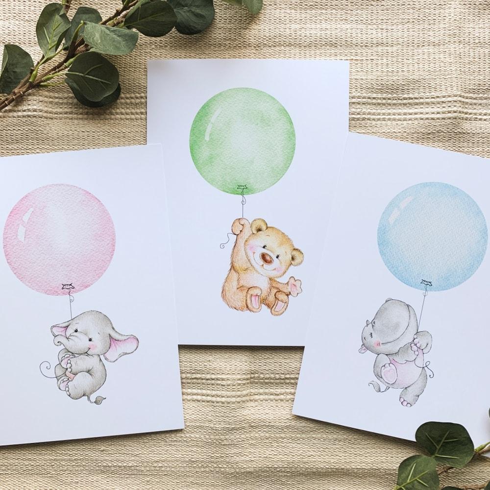 Posterset (Bär, Elefant, Nilpferd)