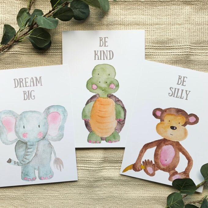 Kinderzimmer Posterset Elefant Schildkröte Affe