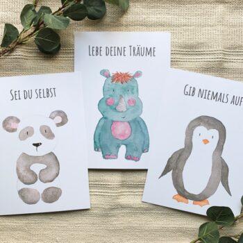 Kinderzimmer Posterset Panda Nashorn Pinguin