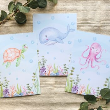 Kinderzimmer Posterset Schildkröte Wal Oktopus