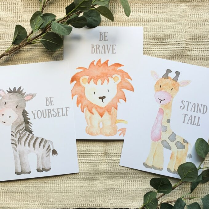 Kinderzimmer Posterset Zebra Löwe Giraffe