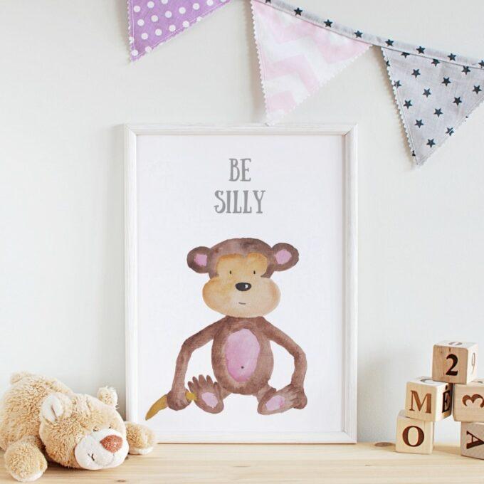 Poster Kinderzimmer Affe