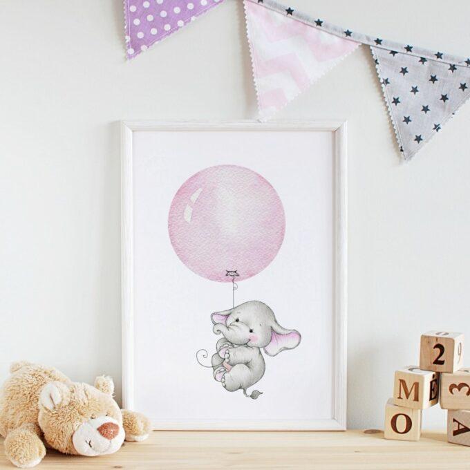 Poster Kinderzimmer Elefant