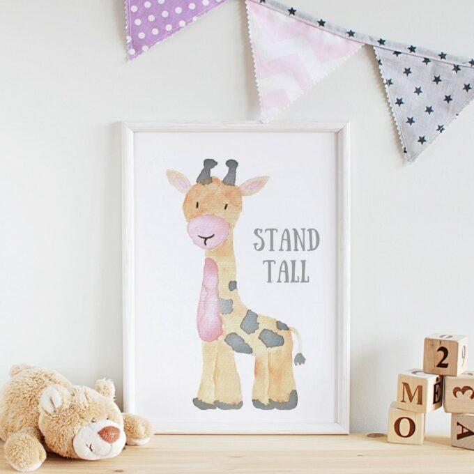 Poster Kinderzimmer Giraffe