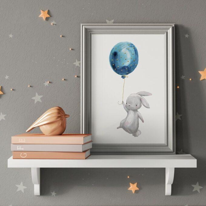 Poster Kinderzimmer Hase grau
