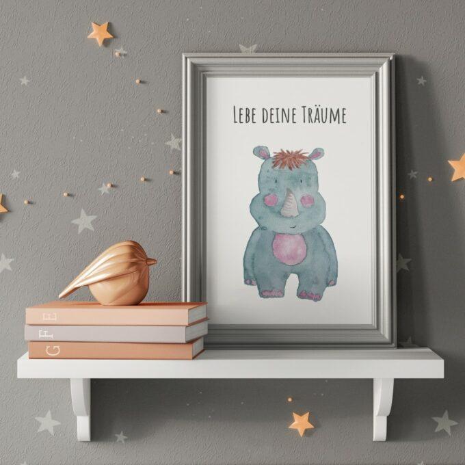Poster Kinderzimmer Nashorn