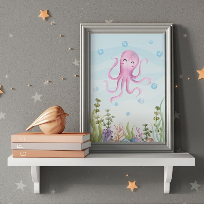 Poster Kinderzimmer Oktopus