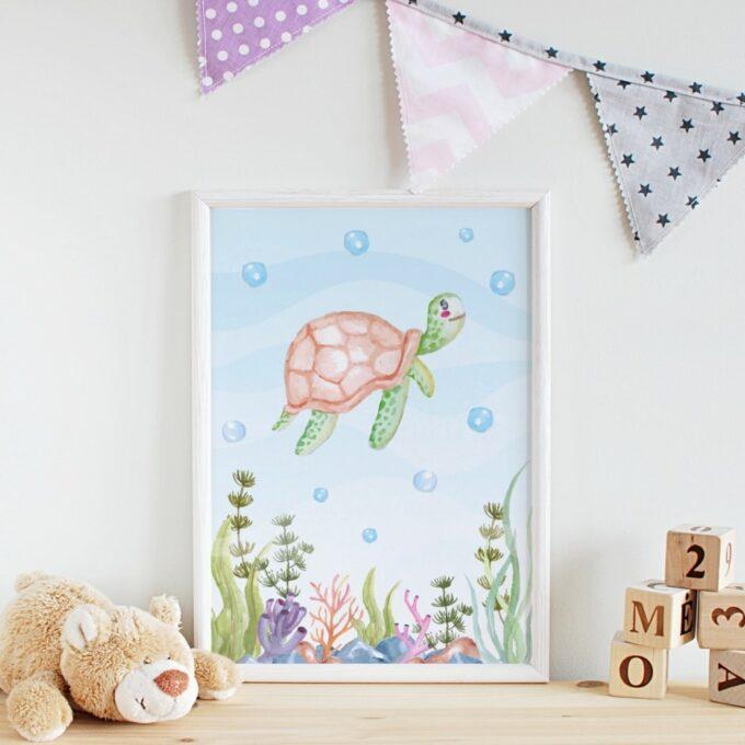 Poster Kinderzimmer Schildkröte