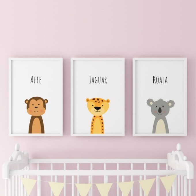Poster-für-das-Kinderzimmer-Affe-Jaguar-Koala-Rosa