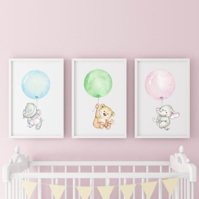 Poster-für-das-Kinderzimmer-Bär-Elefant-Nilpferd-Rosa