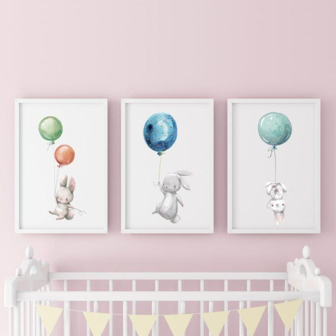 Poster-für-das-Kinderzimmer-Hasen-Rosa