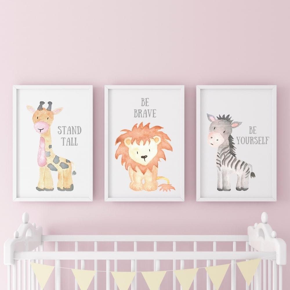 Posterset (Giraffe, Löwe, Zebra)
