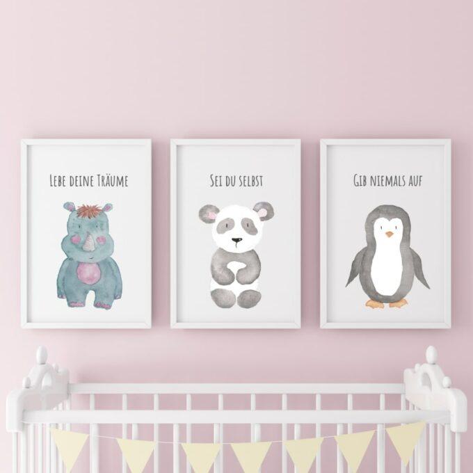 Poster-für-das-Kinderzimmer-Pinguin-Panda-Nashorn-Rosa