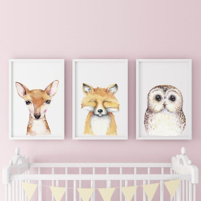 Poster-für-das-Kinderzimmer-Reh-Fuchs-Eule-Rosa