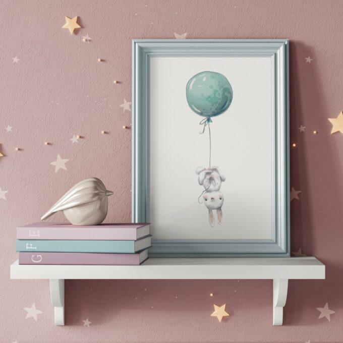 Wandbilder Kinderzimmer Hase pink