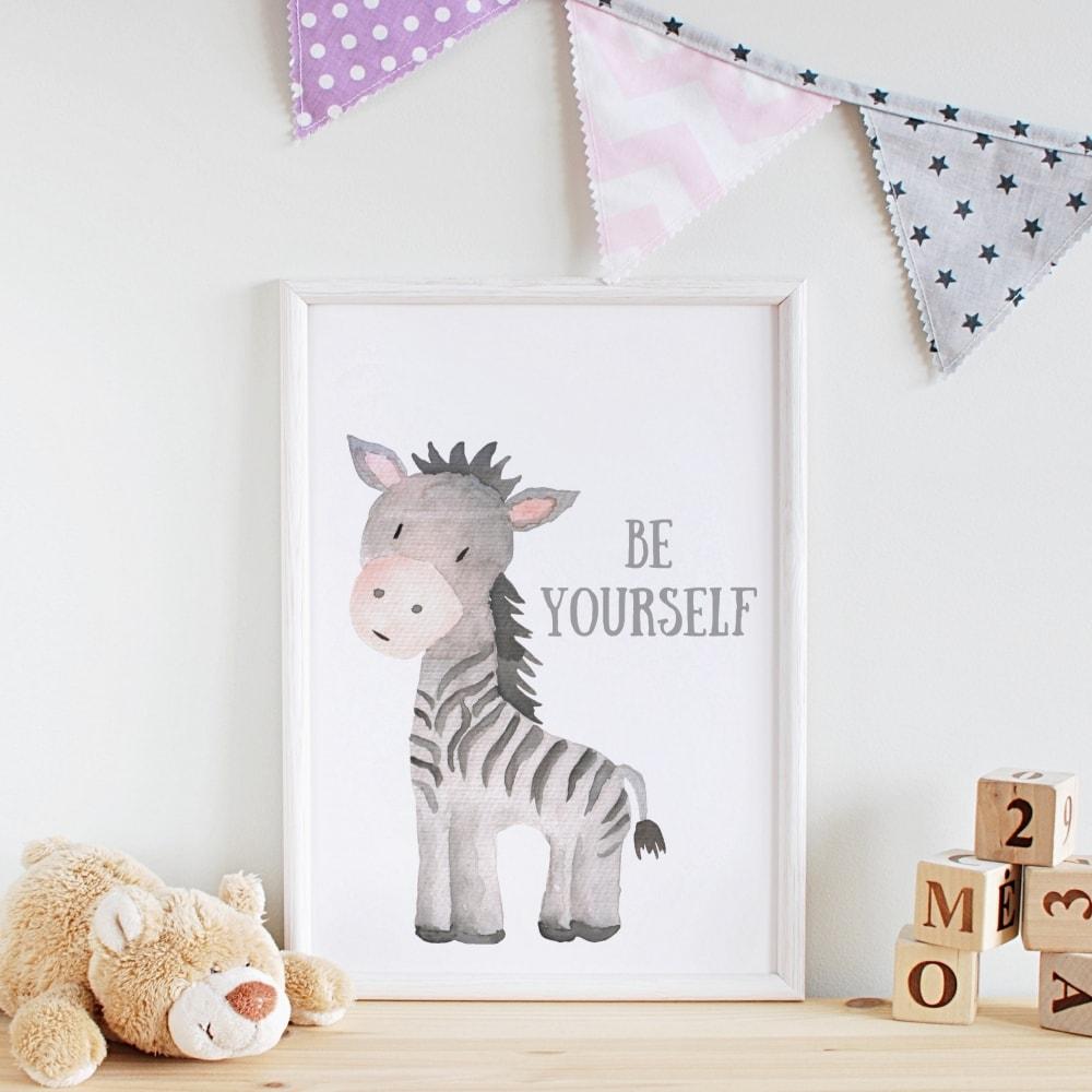 3er Set Kinderzimmer Babyzimmer Poster Bilder A4 Löwe, Elefant, Nilpferd